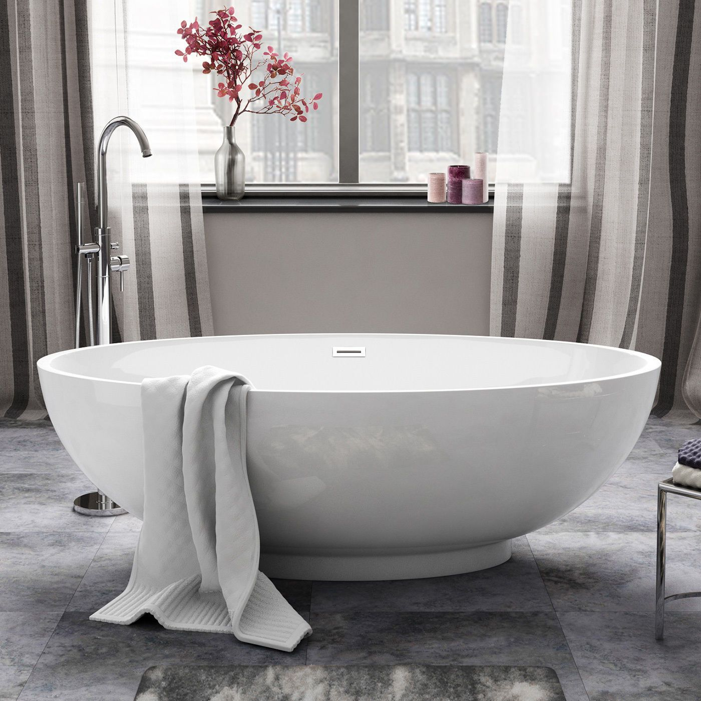 Aquasoak 1685mm modern oval double ended freestanding bath for Best freestanding tub material