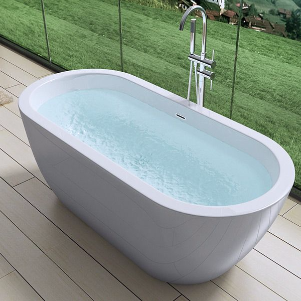 Aquasoak 1800mm modern curved double ended freestanding for Acrylic freestanding soaking tub
