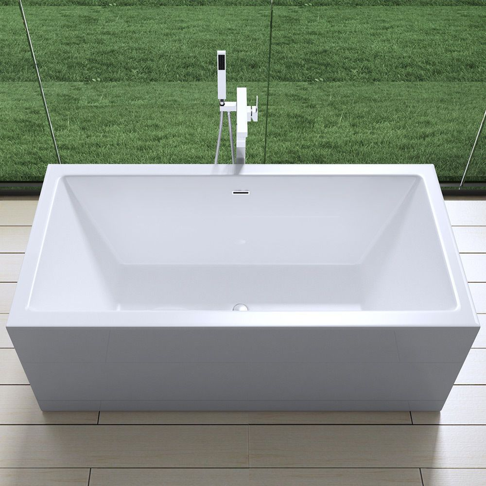 Aquasoak square double ended freestanding bath tub acrylic for Square baths
