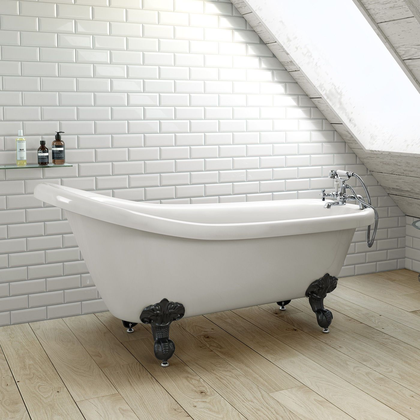 1700mm Freestanding Roll Top High Back Slipper Bath With