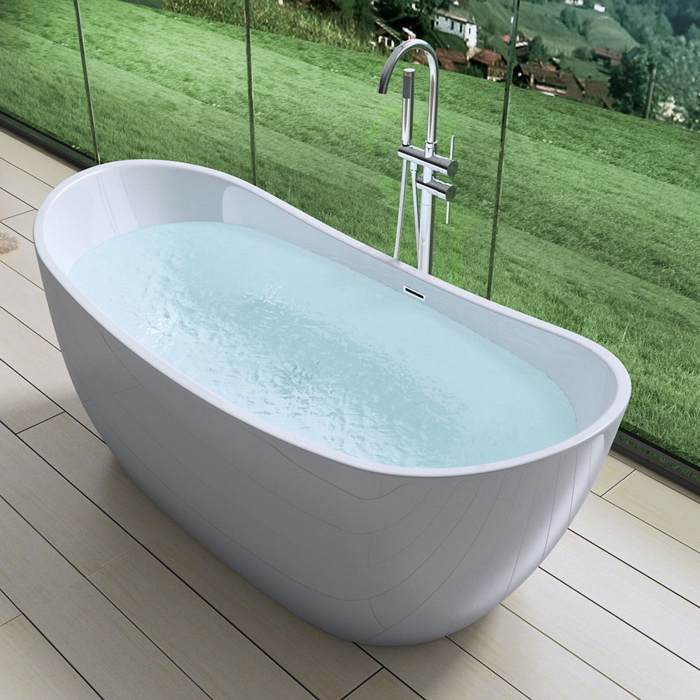 AquaSoak Free Standing Luxury Bath Tub Deep Fill Dual Layer Acrylic ...